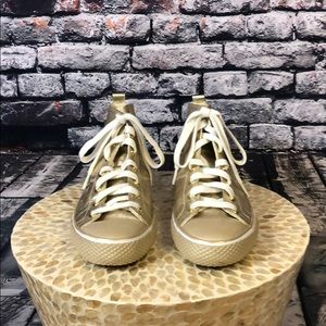 ❤️COACH GOLD METALLIC HIGHTOPS SIZE 9B ALMOST NEW
